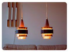 Copper, black matte iron and teak hanging lamps Interior Lighting, Lighting Design, Copper Lamps, Danish Design, Mid Century, Iron, Ceiling Lights, Hanging Lamps, Corridor