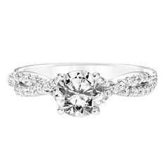 Diamond Prong Set Engagement Ring with Twisted Split Shank SKU: 31-11022ERW-E.01 www.cmijewelry.com