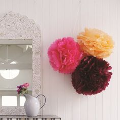 Decorative Mutli Coloured Pom Poms Set