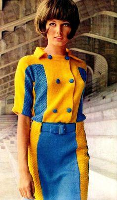 Yellow Blue Vintage Knitting Fashion