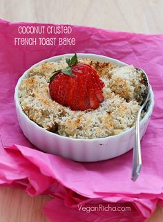 Baked Coconut Crusted French Toasts. Vegan Refined Oil-free Recipe