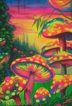 Mushroom Wall Painting UV Painting For Home Decor, Rs 1700 ... #art Trippy Drawings, Psychedelic Drawings, Hippie Painting, Trippy Painting, Arte Indie, Indie Art, Hippie Wallpaper, Trippy Wallpaper, Trippy Mushrooms