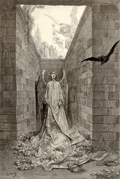 "Gustave Doré: Illustration for Edgar Allan Poe's The Raven for the lines: ""Sorrow for the lost Lenore - for the rare and radiant maiden whom the angels name Lenore""."