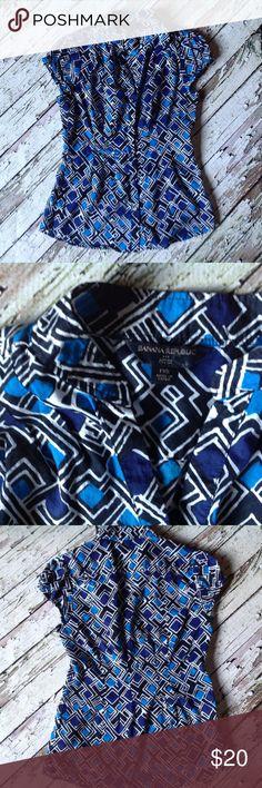 Banana Republic cap sleeve button blouse Cotton blouse with geometric pattern. Banana Republic Tops Blouses