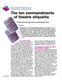 This article is the source for the Audience Etiquette Unit. The author asks readers to share this information far and wide!