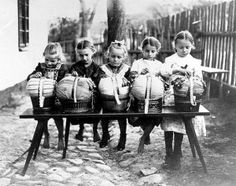 Little Lace Makers. Girls learned from a young age in lace schools. Collective learning often accompanied by songs and rhymes to help remember patterns and stitches.