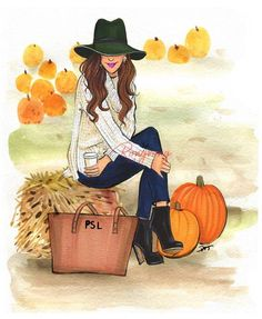 Just a girl patiently wait for PSL season 🍁🍂 ☕️ Who else is ready?🙋🏻♀️🙋🏽♀️🙋🏼♀️ (this is another piece from my fall collection) . Mode Poster, Illustration Mode, Autumn Art, Fall Collections, Fall Season, Fall Halloween, Original Artwork, Art Drawings, Doodles