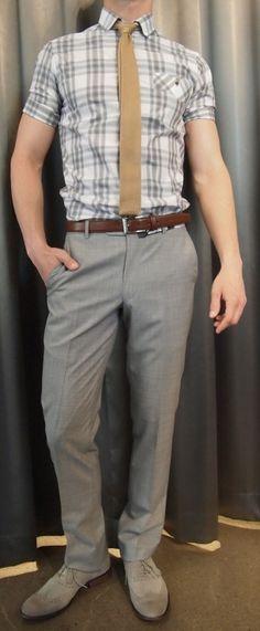 Johnny Love large check shirt $165, Strellson pant $225, Dibi knit tie $35, Strellson belt $120, John Varvatos brogues $225 all from Gotstyle Menswear.