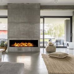 Fireplace built in electric built in glass fireplace with remote control by fires built in entertainment . Home Fireplace, Modern Fireplace, Living Room With Fireplace, Built In Electric Fireplace, Contemporary Fireplace Designs, Electric Fires, Wood Burning Fires, Home And Living, Foyer Au Gaz