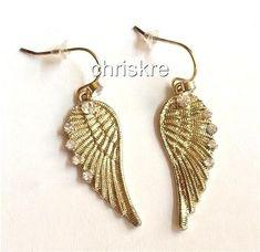 Gold Angels Wings Earrings Plated Crystal Dangle Angel Wings Pierced USA Seller #Unbranded #DropDangle
