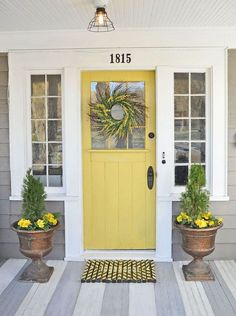 Front Door Colors For Tan House.Tan House With Red Door Painted Front Doors Best Front . My Little Bungalow: Color Selections: Front Door And Hallway. 42 Inviting Colors To Paint A Front Door DIY. Home and Family Yellow Front Doors, Painted Front Doors, Front Door Colors, Front Door Numbers, House Numbers, Front Porch Makeover, Grey Houses, Yellow Houses, Exterior House Colors