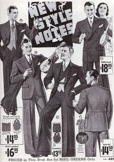 Men's Fashions from Sears, Roebuck & Co. Catalogs, 1932-1935