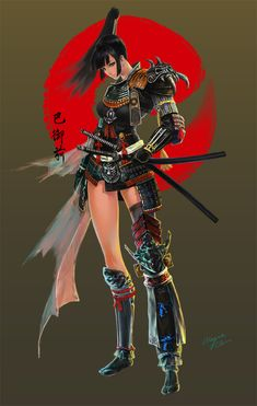 Female Samurai by Wayne Chan on ArtStation. Ronin Samurai, Samurai Armor, Female Samurai Art, Warrior Girl, Warrior Princess, Fantasy Characters, Female Characters, Samurai Wallpaper, Arte Ninja