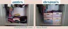 3 ideas con huacales para organizar - Crear y Reciclar Entryway, Diy, Furniture, Home Decor, Upcycle, Organize, Create, Places, Entrance