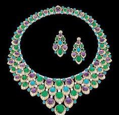 Bulgari Amethyst, Emeralds and Persian Turquoise
