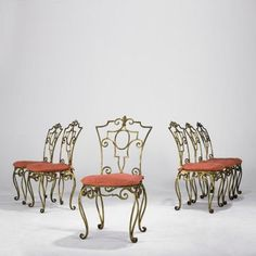 Jean Charles Moreux Set of 6 Dining Chairs by Jean Charles Moreux