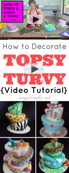 When decorating a Topsy Turvy cake (sometimes spelt Topsy Turvey) or a Mad Hatter style cake, the stacking, layering & carving can be hard to figure out. Cupcakes, Cupcake Cakes, Cake Decorating Techniques, Cake Decorating Tutorials, Decorating Ideas, Professional Cake Decorating, Cookie Decorating Supplies, Cake Works, Cake Templates