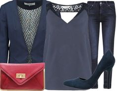 Osez le look bleu avec une touche de rouge ! Ca vous plait ? Vous pouvez retrouver cette tenue ici: http://stylefru.it/s411380 #bluelook #blueaddict #tenuebleue