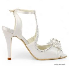 "wedding planning Charming 3.5"" Pearl Brooch Floral Rhinestones Peep-toe Sandals - Ivory Satin Wedding Shoes $76.98"