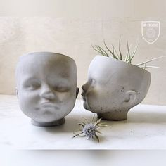 NP Doll Head Vessel / Planter, Concrete planter, succulent, air plant. cacti.