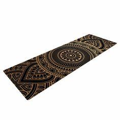 "NL designs ""Black And Gold Mandala"" Black Gold Tribal Arabesque Digital Vector Yoga Mat"