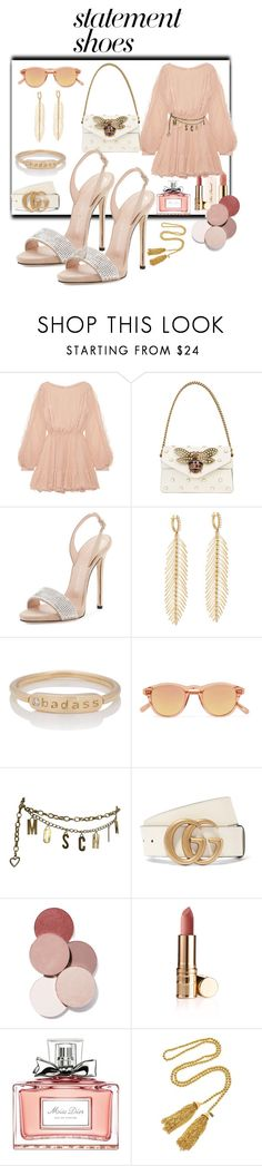 """Soft tone"" by carmen1965 ❤ liked on Polyvore featuring LoveShackFancy, Gucci, Giuseppe Zanotti, Sidney Garber, My Story, Chimi, Too Faced Cosmetics, Moschino, LunatiCK Cosmetic Labs and Christian Dior"