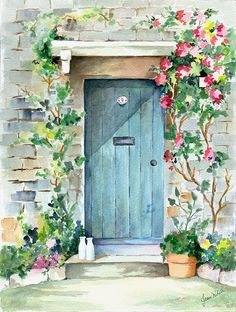 Milk delivered at the door by Jean Walker White - Milk Delivered At The Door Painting by Jean White Watercolor Architecture, Watercolor Landscape, Watercolor Flowers, Landscape Paintings, Watercolor Artists, Watercolor Portraits, Watercolor Pencil Art, Watercolor Paintings For Sale, Landscape Drawings
