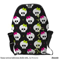 funny cartoon halloween skulls with name commuter bag