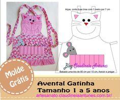 Molde Avental de Gatinha Infantil