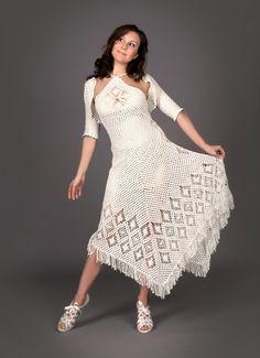Vestido de crochet blanco exclusivo con arriba de bolero de ganchillo (€707.82 EUR)