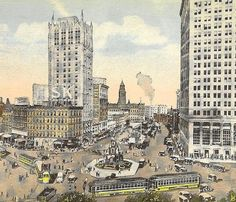 Cadillac Square & Monroe Avenue DETROIT Michigan Busy Street Scene of trams and traffic on vintage unused postcard on Etsy, $4.00