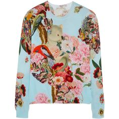 Mary Katrantzou Printed cotton sweater ($1,440) ❤ liked on Polyvore featuring tops, sweaters, blouses, mary katrantzou, shirts, blue, cut loose shirt, loose sweater, slouchy sweater and blue top
