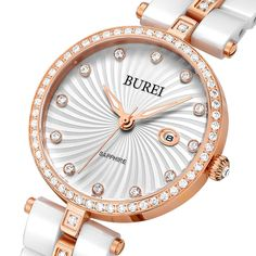 BUREI Brand Lady Sapphire Crystal Ceramic Band Quartz Watch Waterproof Fashion Women Wristwatches With Premiums Package 3030  #men #me #groom #sale #trendy #bride #bags #sunshades #newarrivals #baby #style #mensfashion #sexyshoes #gloves #fashion
