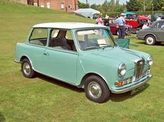 Wolseley Hornet Mk.III (1964-69) Engine 998cc S4 OHV   The Mk.1 Hornet was introduced in 1961 along with the similar Riley Elf. Basically an upmarket and finned version of the 848cc Mini with a Wolseley or Riley grille, fins, wrap around rear bumper, heater and screen washers. For 1963 the Mk.II was given the 998cc engine of 36 bhp twin leading shoe front brakes.