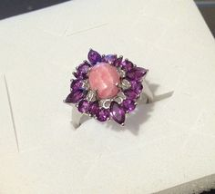 Rhodochrosite, Amethyst Ring in Sterling Silver (Size 8.5) 3.65 ctw. *NIB* #SolitairewithAccents