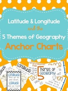 Latitude and Longitude are tricky concepts to teach! I print mini copies of these out for my students to place in their interactive notebooks and I have large copies hanging in my classroom as a reference guide. I have also included my 5 themes of Geography reference charts as well.