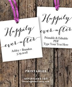 Happily Ever After Tags Printable // Wedding Gift by RevintagedArt