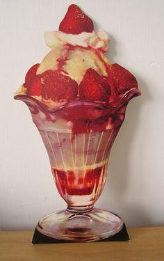 vintage strawberry sundae die cut by vintagegoodies on Etsy