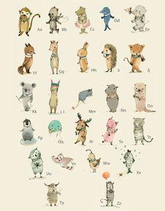 ABC Tieralphabet Poster- Poster 32x 41 cm von Paola Zakimi auf DaWanda.com