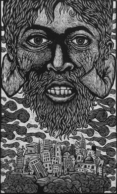 A City with a Big God , 2000, woodcut by Artemio Rodriguez