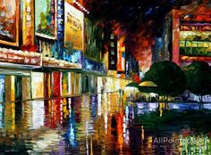 Leonid Afremov Movie Theatre oil painting reproductions for sale