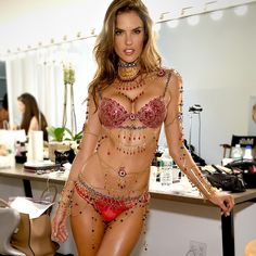 NBD, just hanging out in hair & makeup wearing the $2 million #VSFantasyBra. That's Alessandra Ambrosio for you! ;)