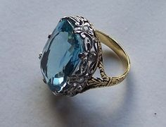Aquamarine Ladies Ring with 18K Gold Platinum and Diamonds | eBay