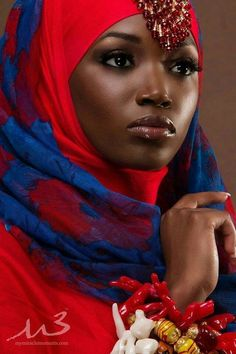 african beauty Hijab Styles for Black Girls. What colour of hijab looks best on a girl with dark skin? How should I style my hijab with my skin tone? So many questions and yet you will African Beauty, African Women, African Fashion, Dark Complexion, Dark Skin, Black Women Art, Black Girls, My Black Is Beautiful, Beautiful People