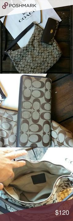 Coach Bag and wallet set The bottom of the lining got attacked  by lipstick I had it cleaned but it stained the lining. Purse and wallet over all are in great condition I give it a 7 out of 10.  This can be used as a crossbody or a tote. Coach Bags Crossbody Bags