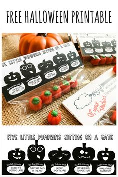 Five Little Pumpkins Favor and Free Printable - South Lumina Style Halloween Poems, Halloween Treats For Kids, Cute Halloween, Halloween Gifts, Halloween Pumpkins, Pumpkin Poem, Pumpkin Crafts, Pumpkin Printable, Free Printable