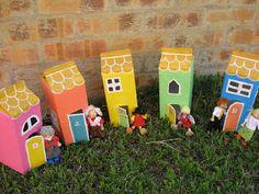 Papier Mache Houses from juice boxes- tutorial