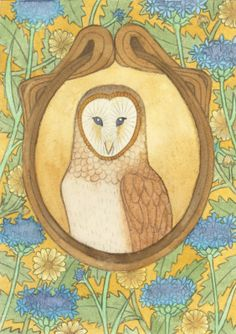 'Art Nouveau Inspired Barn Owl' by Emma Cowley Art Nouveau Wallpaper, Wallpaper Art, Owl Kitchen Decor, Owl Watercolor, Art Nouveau Illustration, Pin Art, Animal Totems, Traditional Art, Arts And Crafts