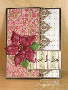 "Gorgeous ""Merry Christmas"" Poinsettia Card...with scalloped edge.  by Angela Maine - from the tool shed."