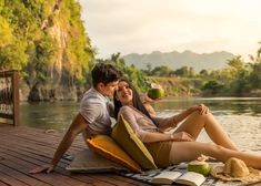 Relaxing with beautiful view and special person at Tent Camping, Glamping, River Camp, Spring Nature, Special Person, Resorts, Thailand, Relax, Couple Photos